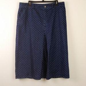 Boden MIRA Denim Polka Dot Front Pleat Skirt(14)